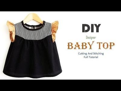 DIY Designer Cute Baby Top With Ruffled Sleeves Full Tutorial