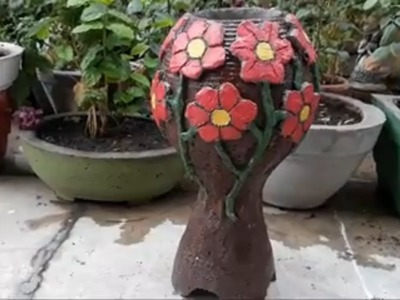 How to make beautiful cement VASE at home.