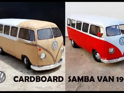 WOW!  Volkswagen Samba van    How to make Classic van 1961 with cardboard    DIY    Electric toy van