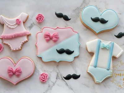 BOW or BEAU? Which will it be? - How to make BOY & GIRL baby shower cookies