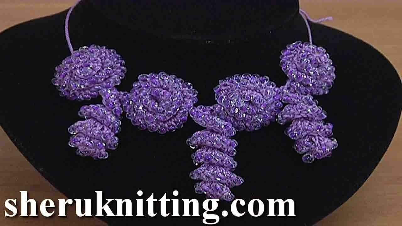 Crochet  Beaded Flower Cord  Tutorial 152 Crochet Bracelet