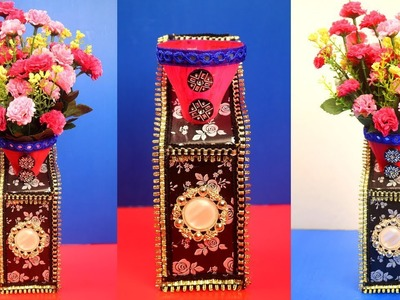 DIY - Cardboard and Plastic Bottle Vase Idea - Waste Materials Craft Ideas - Home Decorating Ideas