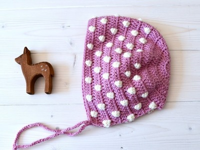 How to crochet a baby. children's easy bobble stitch bonnet