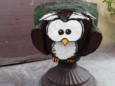 How to make cement pot at home with face design on it.