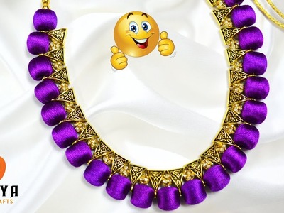How to make necklaces at home   Silk Thread Bail Necklaces   choker   DIY   Jewelry Making   #107