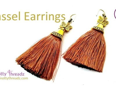 How to make Thick Tassel Earrings Using 3000 Silk Strands | DIY Party Wear | www.knottythreadz.com