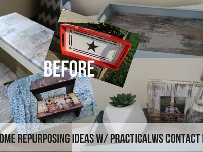FARMHOUSE DECOR REPURPOSE | STEP STOOL AND DIY TRAY | DIY DECOR | PRACTICALWS CONTACT PAPER REVIEW