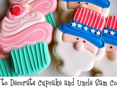 How to Decorate Cupcake and Uncle Sam Cookies
