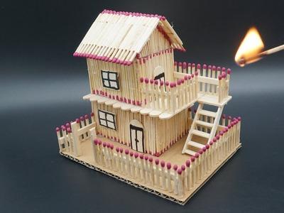 How to Make a Match Stick House - match Stick house fire at home