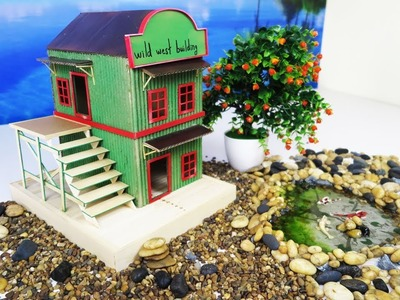 How to Make an Old Western Town Building From Cardboard - Dreamhouse - Popsicle Stick Crafts