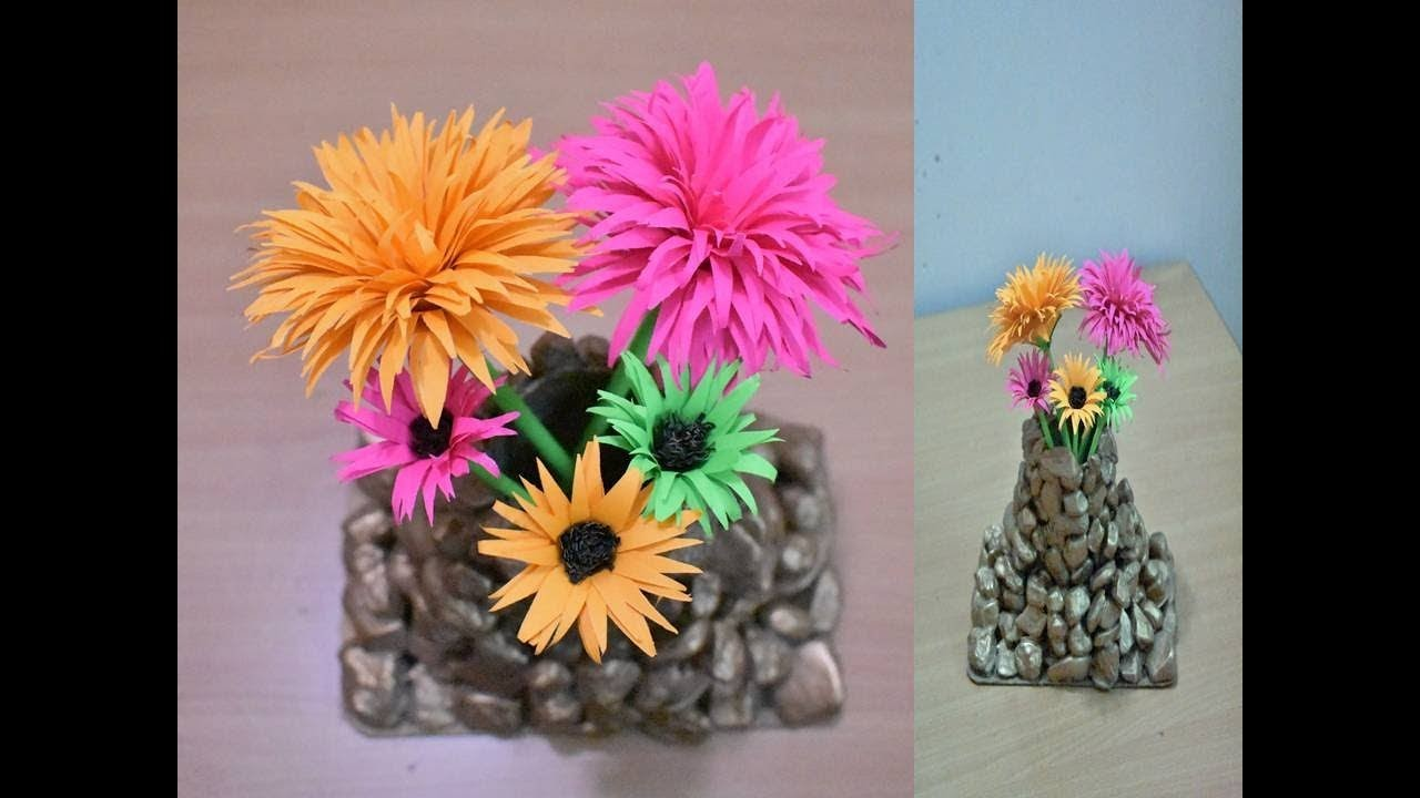 Art And Craft Easy Paper Flowers And Vase Making Flower Making Diy