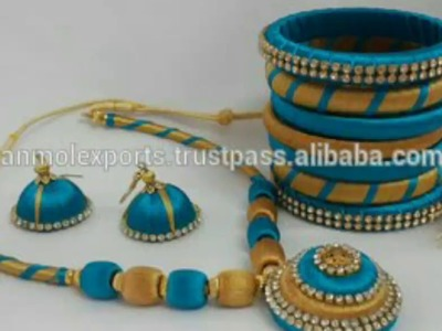 Blue colour silk thread necklace sets designs latest ever