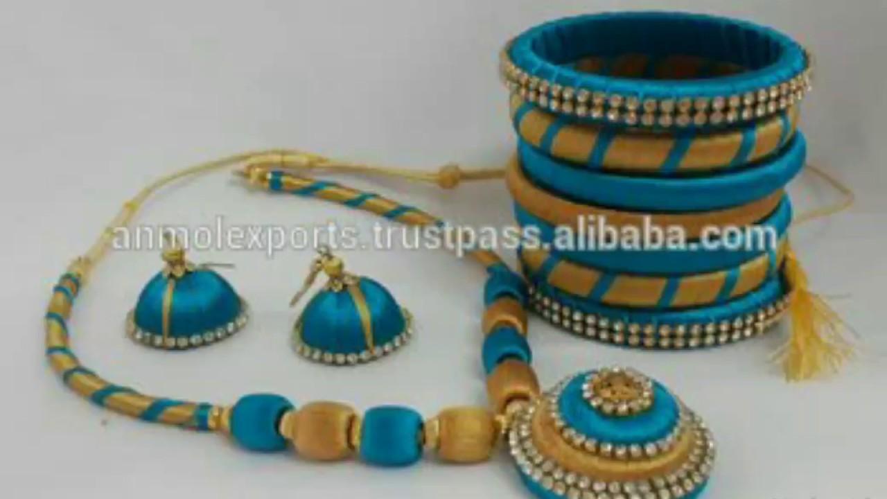 Blue colour silk thread necklace sets designs latest ever