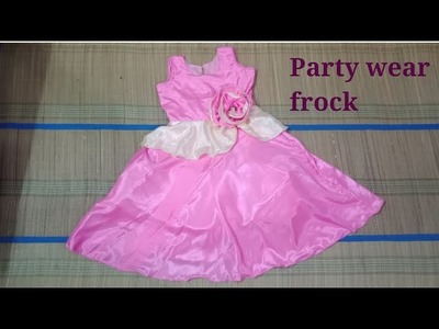 DIY cutting and stitching of long party wear frock for five year Girl