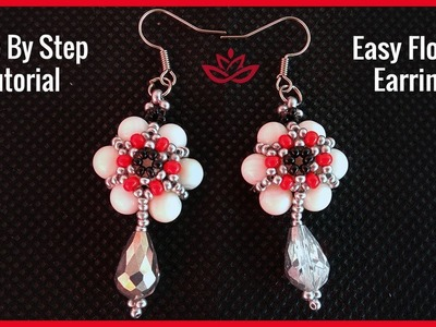 DIY Flower Earrings with Pearls and Seed Beads - Tutorial