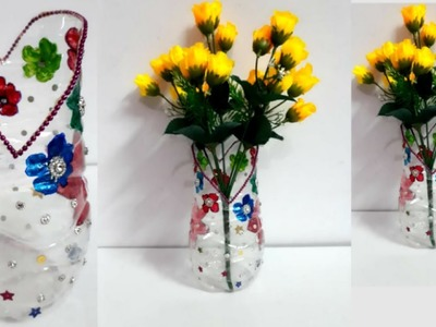 DIY Flower vase from plastic bottle at home | Best out of waste | Plastic bottle craft idea