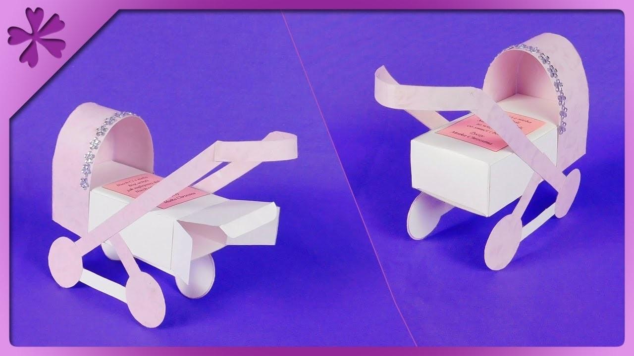 DIY How to make paper stroller, 3D baptism card (ENG Subtitles) - Speed up #508