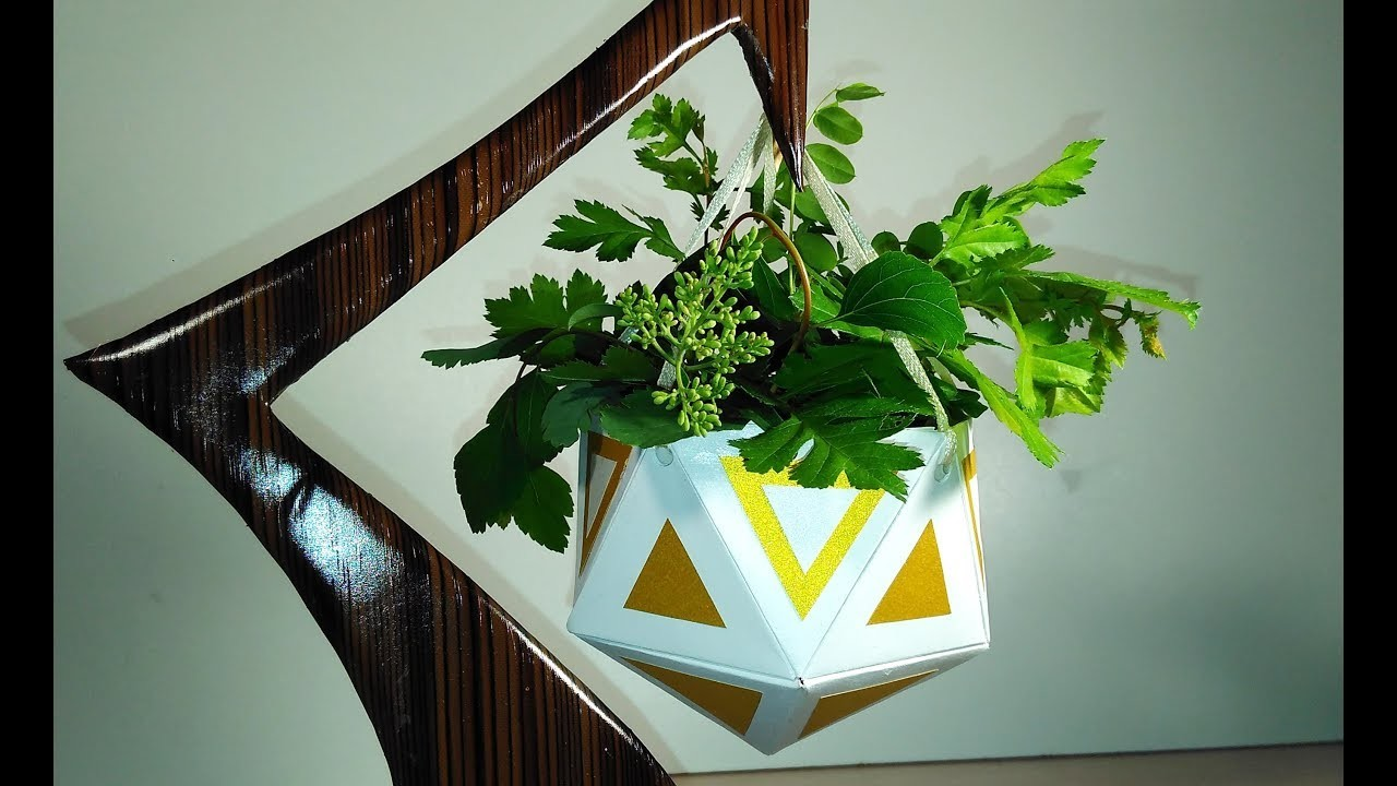 Handmade Hanging Planter. Paper Succulent Planter. Great idea for gift or home decor.