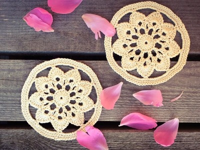 How To Crochet A Flower Circle Coaster Table Decor