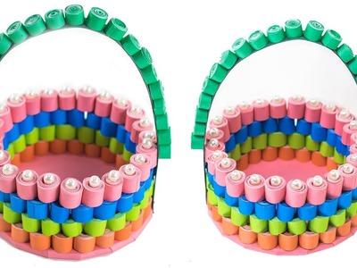 How To Make Decorative Quilled Basket | DIY Paper Basket | 3D Paper Quilling Basket