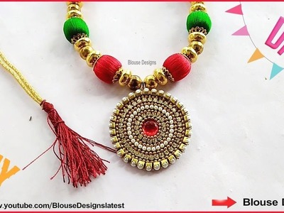 How to make silk thread necklace, how to make silk thread necklace pendant, bridal, silk cord