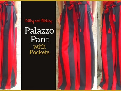 Palazzo Pant with Pocket Cutting and Stitching | DIY Palazzo for girls