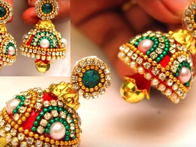Silk Thread Fancy Jhumkas making at home || Silk Thread Earrings with multiple chains  | DIY
