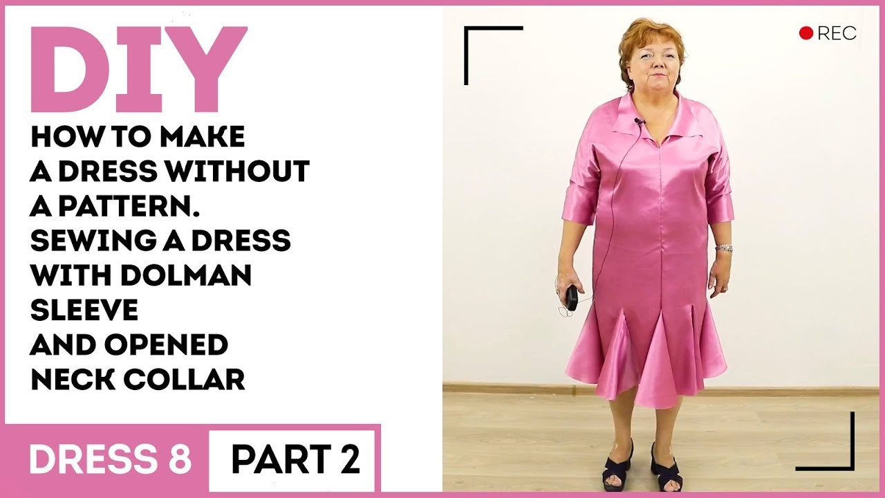 DIY How to make a dress without a pattern. Sewing a dress with dolman sleeve and opened neck collar
