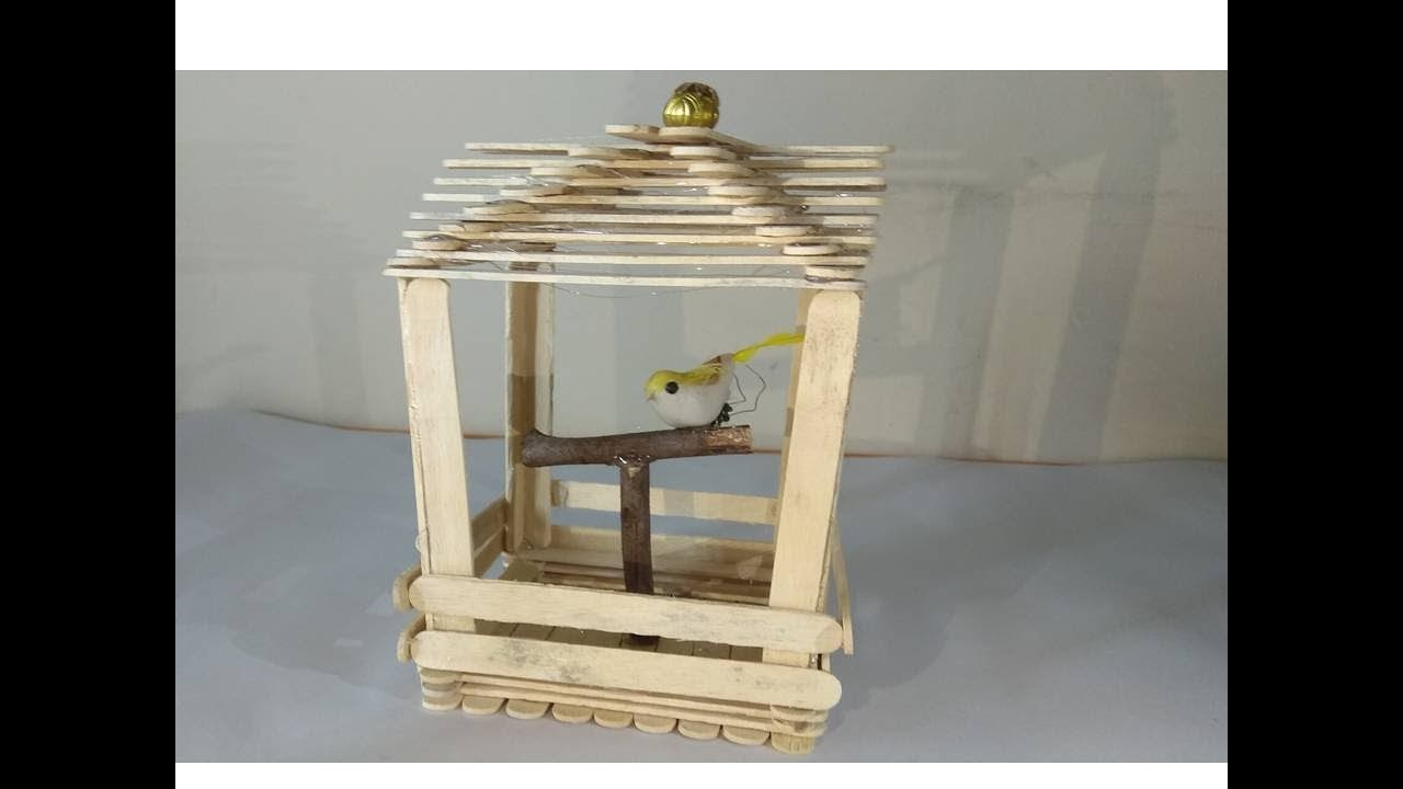 How to make a mini popsicle house for birds. Mini Ice cream stick hut. Ice cream stick bird house