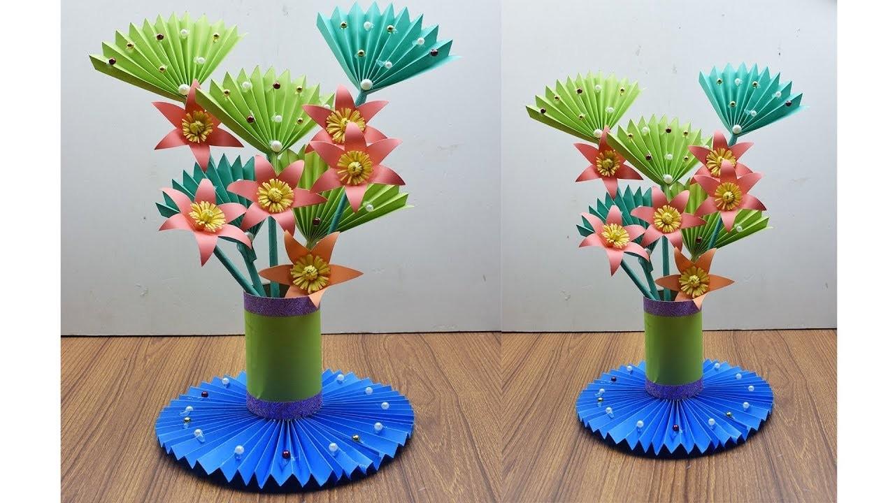 How To Make A Paper Flower & Vase at Home - DIY Simple Paper Craft - Paper Flower Vase