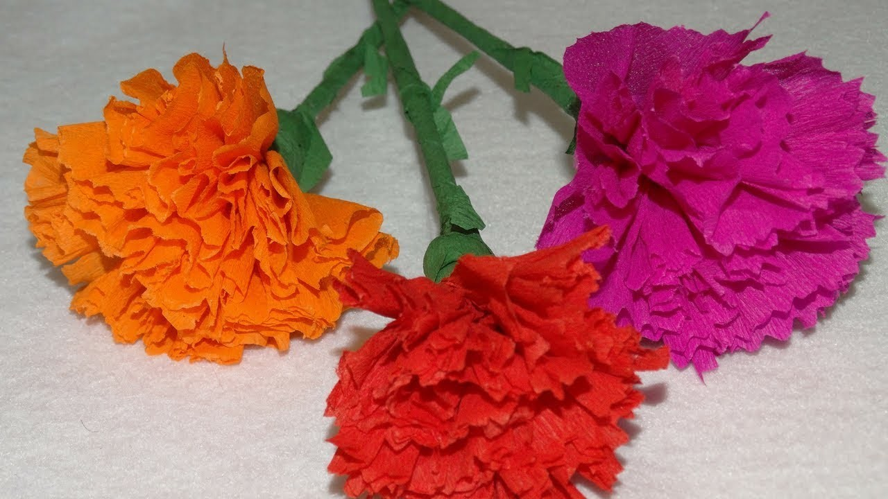 How To Make Carnation Flower From Crepe Paper Craft Tutorial How