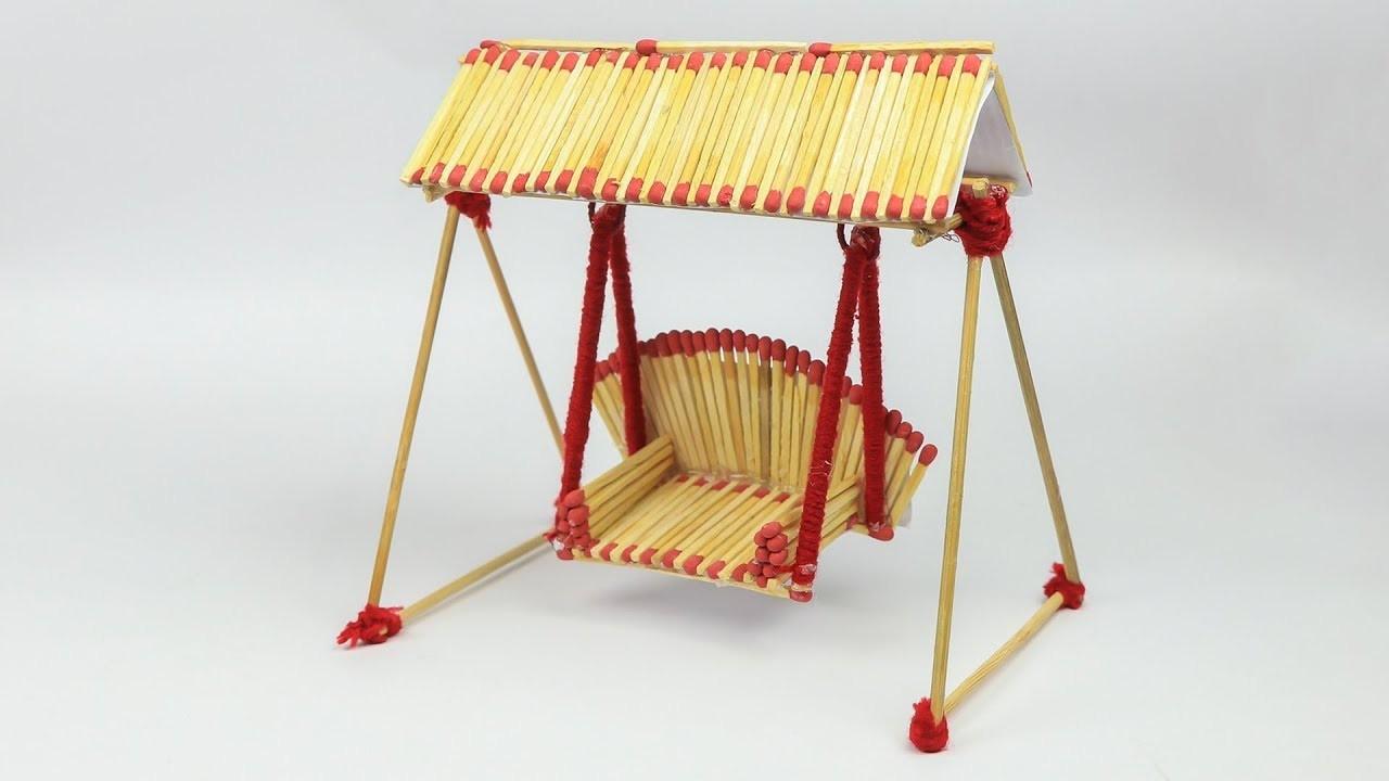 Matchstick Art and Craft Ideas: How to Make Matchstick Miniature Swing (Jhula)