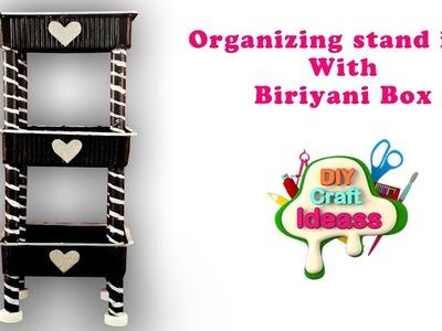 Organizing stand idea With Biriyani Box | Diy craft ideas