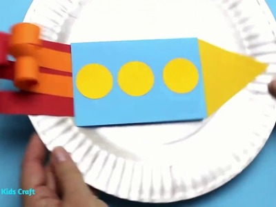 Rocket and Moon Fathers Day Card Idea | Paper Plate Crafts