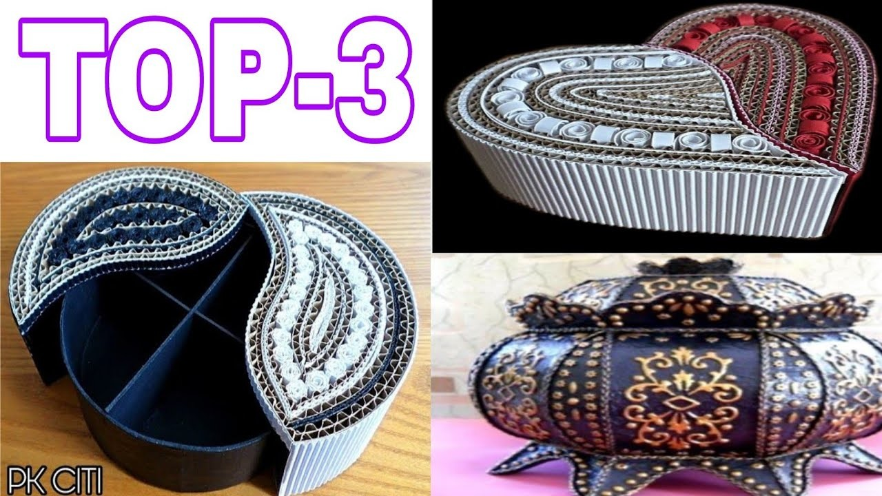 Wow! Best craft ideas by cardboard || Top 3 diy jewellery box || diy jewellery box