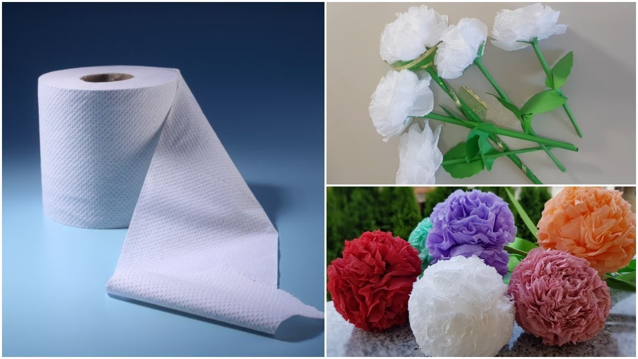 2 Ways To Make Flowers With Toilet Paper Diy Toilet Paper Flowers