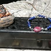 Bracelet Handmade- Infinite Peace- Garnet- Hematite -Lapis Lazuli -Stones -Flexible -Talisman from La Gomera Island