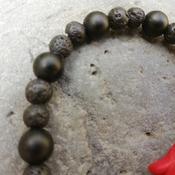 Bracelet Handmade- Inner Peace and Joy- Volcanic Lava- Onyx -Stones -Coral- Buddha -Flexible Talisman from La Gomera Island