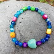 Bracelet Handmade -Strong Protection -Turquoise- Agate -Stones- Mother Pearl- Flexible Talisman from La Gomera Island