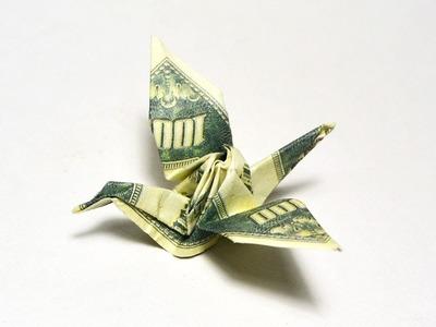 CLASSICAL MODEL Money CRANE Origami Dollar Tutorial DIY Folded No glue and tape