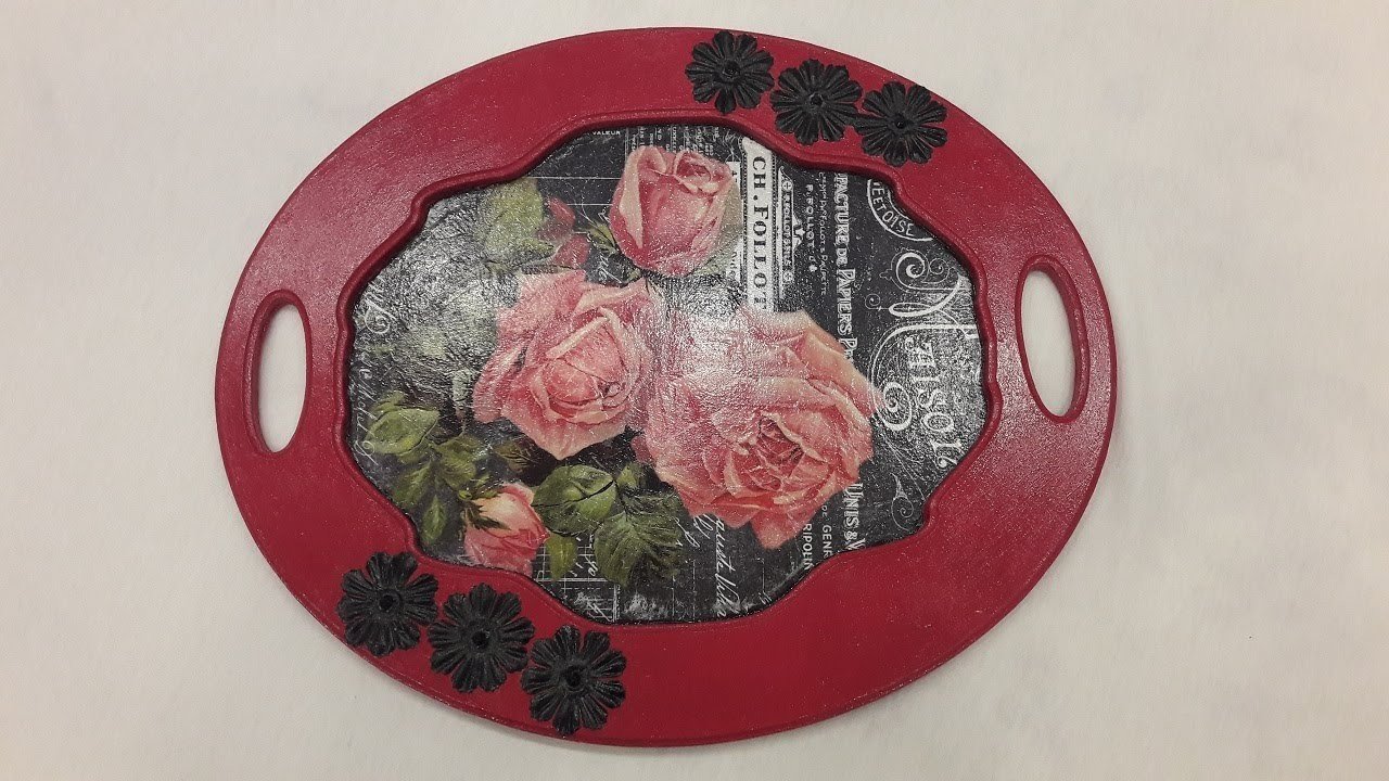 Decoupage tutorial-How to decoupage a wooden tray-DIY