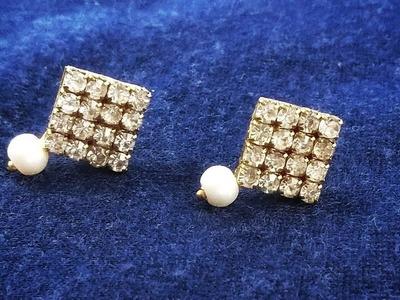 Diamond Earrings 5 Min DIY   Simple & Easy Designer Stud Earring Tutorial  Paper Earrings