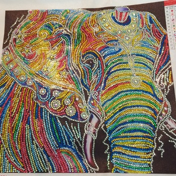 Diamond Picture Art - Fundraising Project - Elephant completed ready to frame, Christmas gift, gift, birthday, gift for mum, art,