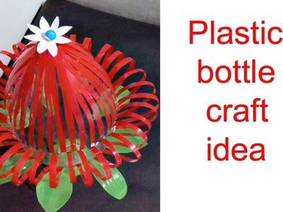 How to make beautiful plastic bottle vase making craft water bottle recycle flower vase.Creative Art