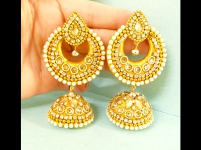 How To Make Designer Fancy Bridal Earrings at Home || Bridal Jhumka Earrings Tutorial || Chandbalis