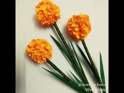 How to make easy Orange button flowers by craft paper.