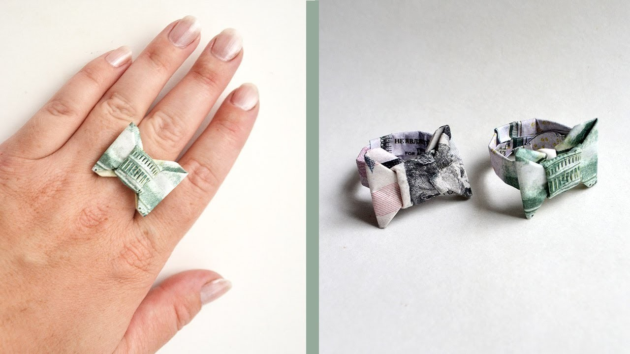 Origami: origami how to make a dimering dollar bill origami ring.