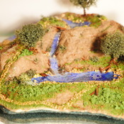 Nature Scenery Waterfall Water Holes Tree Grass Realistic Scene Handmade Decor (Large Item)