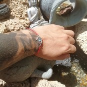 Simple Bracelet Handmade Focus and Concentration Hamsa Onyx Stone Amulet Talisman from La Gomera Island