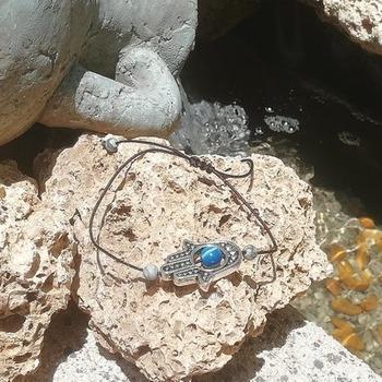 Simple Bracelet Handmade Spiritual Hamsa Agate Jasper Stone Amulet Talisman from La Gomera Island